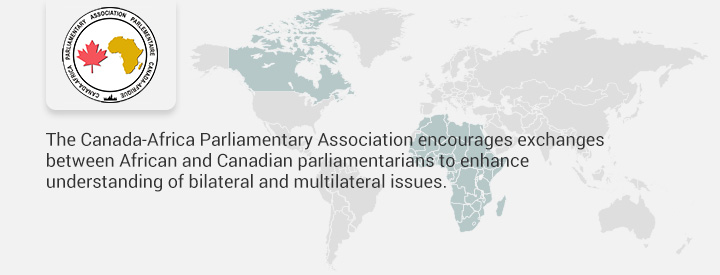 CAAF logo, The Canada-Africa Parliamentary Association encourages exchanges between African and Canadian parliamentarians to enhance understanding of bilateral and multilateral issues.