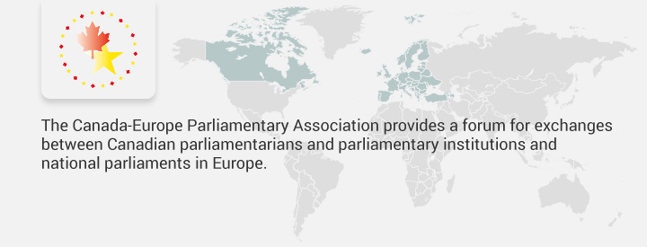 CAEU logo, The Canada-Europe Parliamentary Association provides a forum for exchanges between Canadian parliamentarians and parliamentary institutions and national parliaments in Europe.
