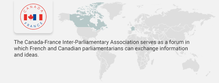 CAFR logo, The Canada-France Interparliamentary Association serves as a forum in which French and Canadian parliamentarians can exchange information and ideas.