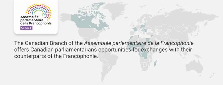 CAPF logo, The Canadian Branch of the Assemblée parlementaire de la Francophonie offers Canadian parliamentarians opportunities for exchanges with their counterparts of the Francophonie.