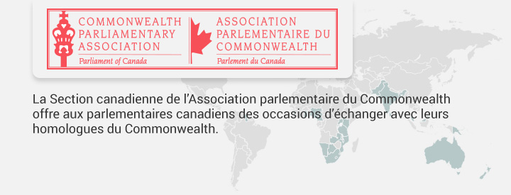 Logo CCOM,La Section canadienne de l'Association parlementaire du Commonwealth offre aux parlementaires canadiens des occasions d'échanger avec leurs homologues du Commonwealth.