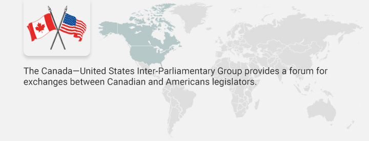 CEUS logo, The Canada-United States Inter-Parliamentary Group provides a forum for exchanges between American and Canadian legislators to promote better understanding of shared issues of concern.