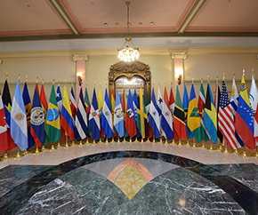 Flags of member countries of the ParlAmericas