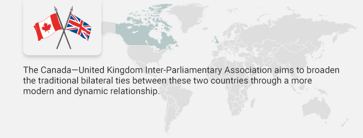RUUK logo, The Canada-United Kingdom Inter-Parliamentary Association aims to broaden the traditional bilateral ties between these two countries through a more modern and dynamic relationship.