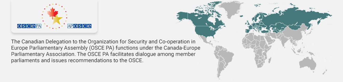 SECO logo, The Canadian Delegation to the OSCE Parliamentary Assembly provides a forum for Canadian parliamentarians to exchange information and ideas with their counterparts in the region.