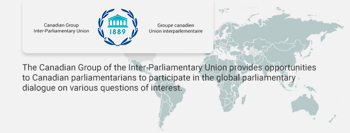 UIPU logo, The Canadian Group of the Inter-Parliamentary Union (IUP) provides opportunities to Canadian parliamentarians to participate in the global parliamentary dialogue on various questions of interest.