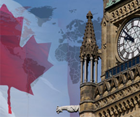 Peace Tower with Canadian flag and map of the world