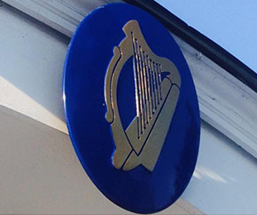 Sign of celtic harp on Irish embassy in Canada