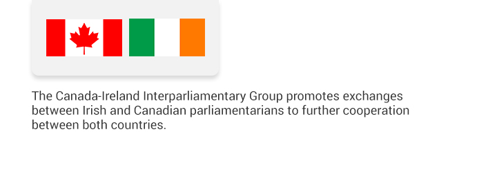 The Canada-Ireland Interparliamentary Group promotes exchanges between Irish and Canadian parliamentarians to further cooperation between both countries.